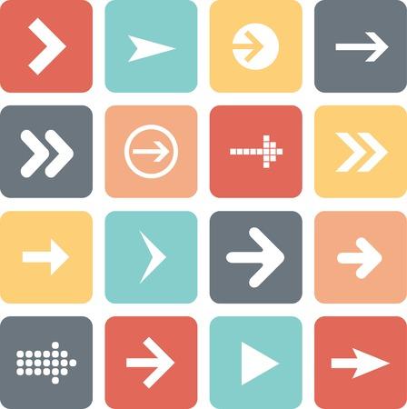 designator: Arrow sign icon set, flat design, vector illustration of web design elements. Illustration