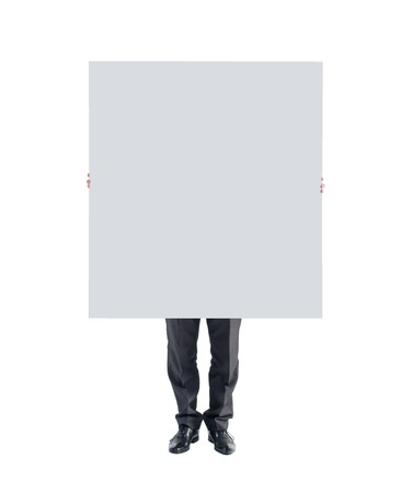 man hands holding showing white blank poster board. photo