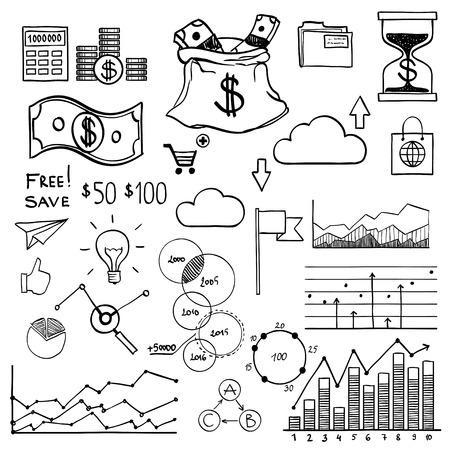 earnings: Hand zeichnen doodle Elemente Geld und M�nze Symbol, Diagrammen und Grafiken. Konzept Bankfinanzierung Analytik Ergebnis.