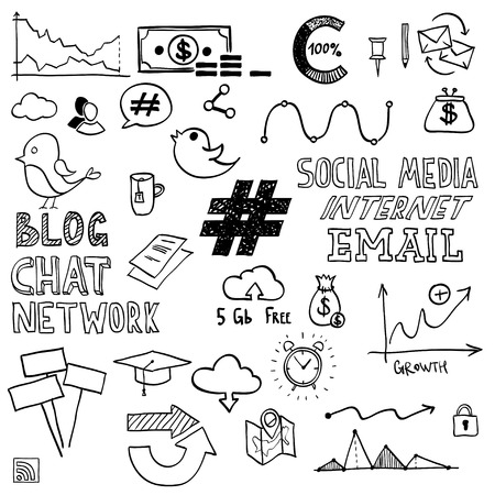 Hand draw social media sign and symbol doodles elements. Concept tweet, hashtag, internet communication. Vector