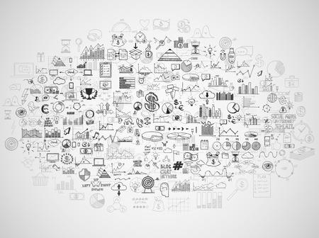 Mão desenhar elementos do doodle dinheiro e ícone moeda, gráfico gráfico. Bancárias conceito de análise de negócios financiar ganhos.