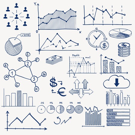 Business finance management infographics doodle hand draw elements. Concept - graph chart pie arrows signs social media earning money. Vector