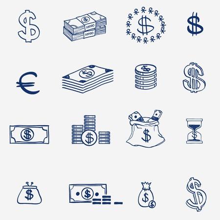 letra de cambio: Iconos del dinero Doodle fijado mano dibujar croquis. Inversiones empresariales elementos bancarias de cr�dito Finanse. Vectores