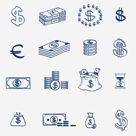 bank bill: Money icons set doodle sketch hand draw. Finanse investment business credit bank elements. Illustration
