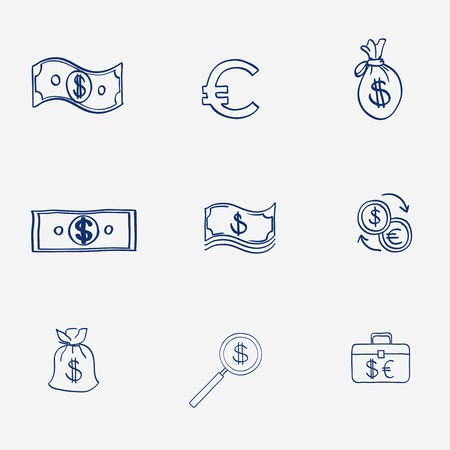 finanse: Money icons set doodle sketch hand draw. Finanse investment business credit bank elements. Illustration