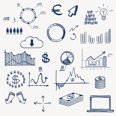 Business finance management infographics social media doodle hand draw elements. Concept - graph chart pie arrows signs earning money. Vector