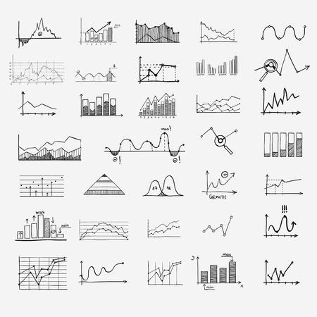 earnings: Unternehmen der Finanzstatistik Infografiken doodle Hand gezeichnete Elemente Konzept - Grafik, ein Diagramm, Pfeile Zeichen, Suche Ertrags Geld Gewinn Illustration