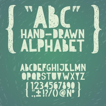Blackboard chalkboard Chalk hand draw doodle abc, alphabet grunge scratch type font vector illustration Vector