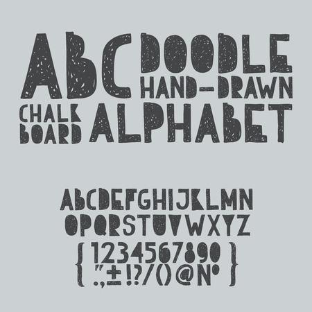 Main tirage doodle abc, alphabet grunge scratch type vecteur de police illustration Banque d'images - 30826423
