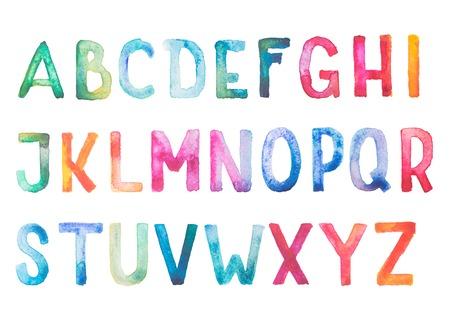 drawing: Colorful watercolor aquarelle font type handwritten hand draw doodle abc alphabet letters
