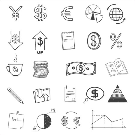 euro coin: Hand draw business finance doodle sketch money icon, dollar euro sign graph, chart