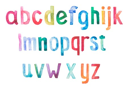 Colorful watercolor aquarelle font type handwritten hand draw doodle abc alphabet letters