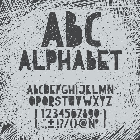 edgy: Chalk hand draw doodle abc, alphabet grunge scratch type font vector illustration