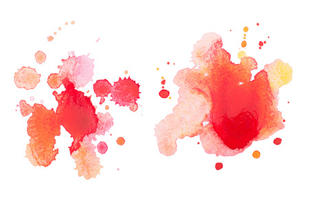 vibrant colours: Abstract watercolor aquarelle hand drawn red drop splatter stain art paint on white background