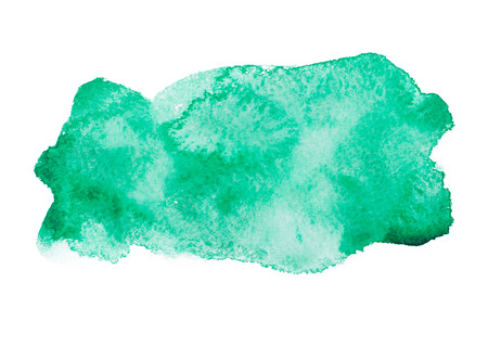 aquarelle: Green colorful abstract hand draw watercolour aquarelle art paint splatter stain on white background