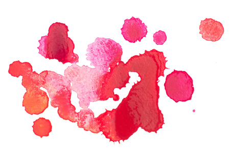 aquarelle: Abstract watercolor aquarelle hand drawn red drop splatter stain art paint on white background