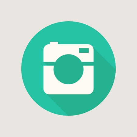 Hipster photo or video camera icon, minimalism style, flat design Vector