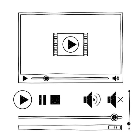 video player: Hand draw sketch doodle video player for web