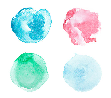 Abstract colorful watercolor aquarelle hand drawn art paint splatter stain on white background