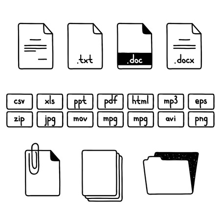 mpg: Hand draw doodle sketch set of document file fomats icons