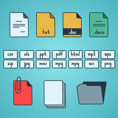 Hand draw doodle sketch set of document file fomats icons Vector
