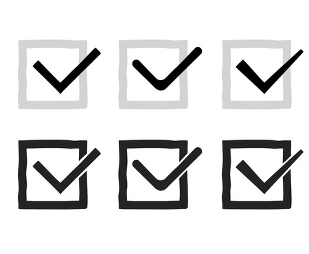 multiple choice: Hand drawn check marks or ticks confirm icons set confirmation acceptance positive passed voting agreement true completion tasks on a list vector illustration