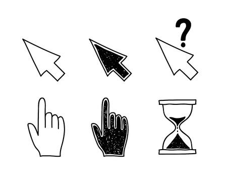 손으로 그려진 된 마우스 커서 아이콘 포인터 화살표 모래 시계입니다. 클릭, 눌러 및 작업 벡터 일러스트 레이 션 터치 일러스트
