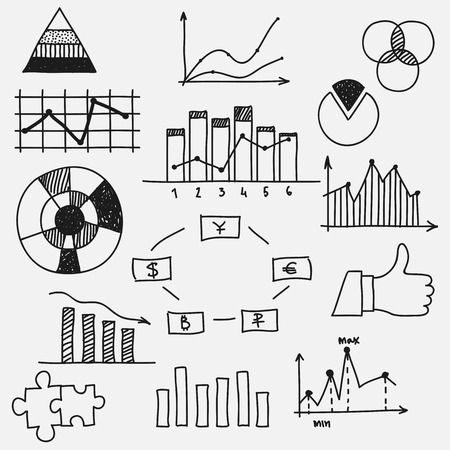 Hand drawn doodle business sketches finance statistics infographics Concept - graph chart pie earnings profit. Vector