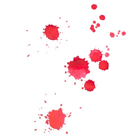 paint drop: Abstract watercolor aquarelle hand drawn red drop splatter stain art paint on white background Vector illustration