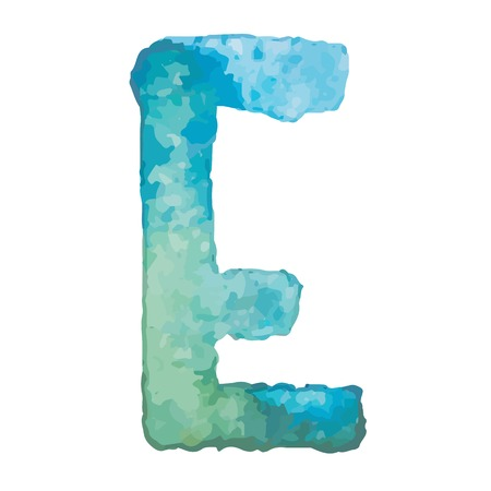 e alphabet: Letter E Colorful watercolor aquarelle font type handwritten hand draw doodle abc alphabet letters Vector illustration.