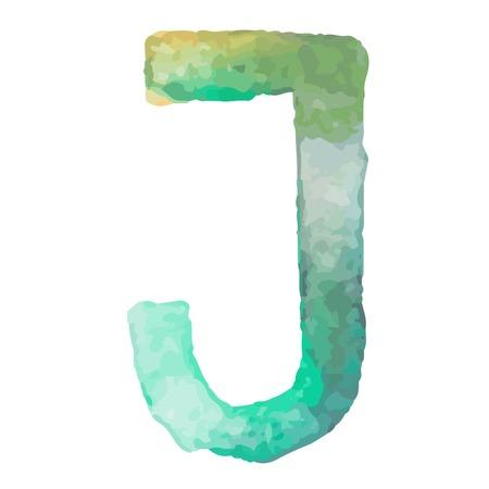 aquarelle: Letter J Colorful watercolor aquarelle font type handwritten hand draw doodle abc alphabet letters Vector illustration. Illustration