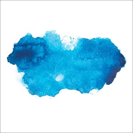 파란색 화려한 추상 손을 그리는 수채화 수채화 아트 예술 페인트 튄 흰색 배경에 얼룩 벡터 일러스트 레이 션