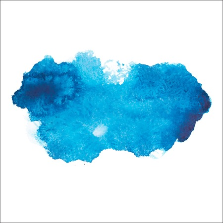 Blue colorful abstract hand draw watercolour aquarelle art paint splatter stain on white background Vector illustration Stock Illustratie