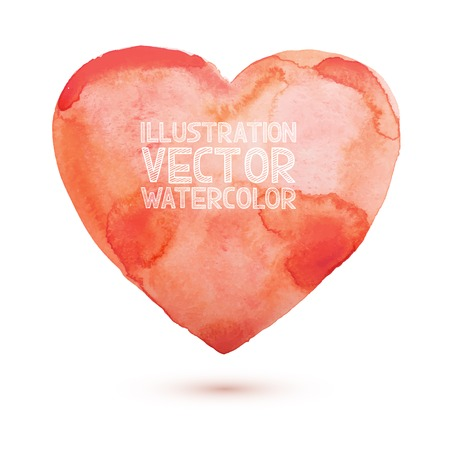 aquarelle: Hand draw watercolor aquarelle art paint love red heart Vector illustration