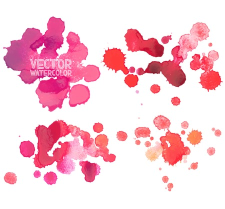 paint drop: Abstract watercolor aquarelle hand drawn red blood drop splatter stain art paint on white background Vector illustration