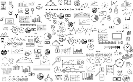stock market charts: infographics collection hand drawn doodle sketch business ecomomic finance elements.