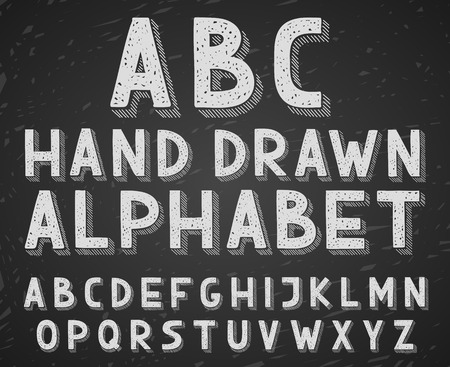 graffiti alphabet: Vector hand drawn doodle sketch alphabet letters written with a chalk on blackboard or chalkboard.