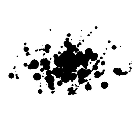 paint drop: Abstract watercolor aquarelle hand drawn black drop splatter stain art paint on white background Vector illustration. Illustration