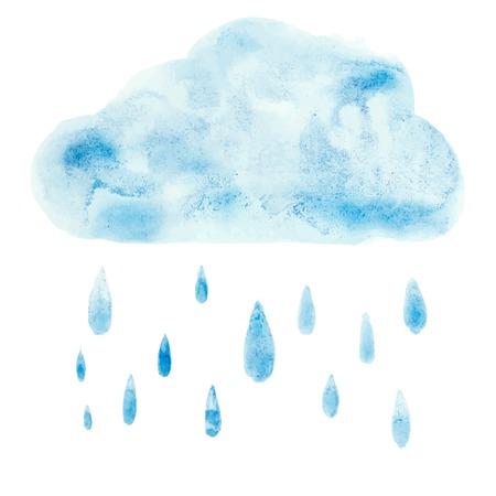 Mão empate aquarelle arte pintura azul da aguarela nuvem Vector gota de chuva ilustração.