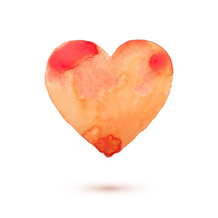 aquarelle: Hand draw watercolor aquarelle art paint love red heart Vector illustration.