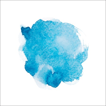 Abstract watercolor aquarelle hand drawn blue art paint on white background Vector illustration. Ilustração