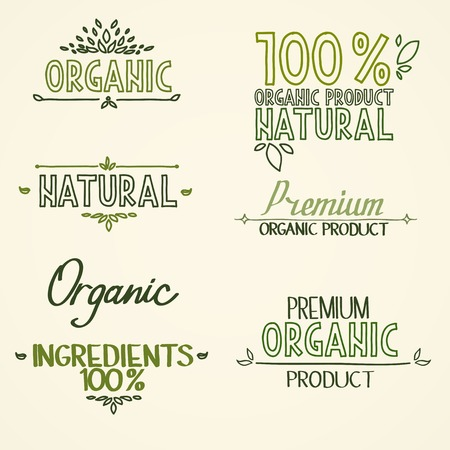 headings: organic Health Food Headings natural product nature-themed badges and labels with green leaves hand draw handwritten text. Illustration