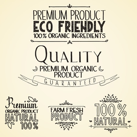 headings: Premium quality organic health food headings natural product nature-themed badges and labels with green leaves hand draw handwritten text. Illustration