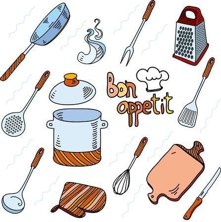 bon: Hand drawn doodle sketch kitchen utensils for cooking Bon Appetit Illustration
