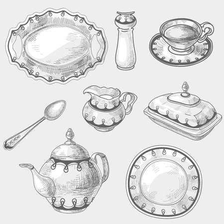 canteen: Hand drawn doodle sketch kitchen porcelain utensils, kitchenware kettler teapot cup of tea or coffee spoon dish or plate