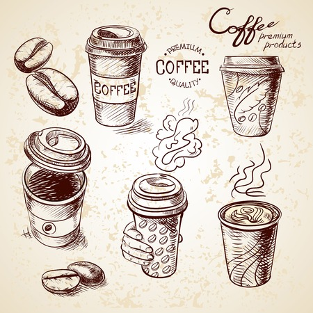 cafe: hand drawn doodle sketch vintage paper cup of coffee takeaway Menu for restaurant, cafe, bar, coffeehouse.