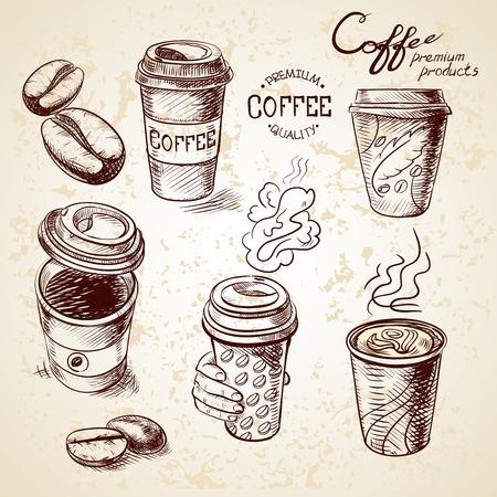 mano bosquejo doodle vaso de papel de la vendimia de café para llevar Menú para el restaurante, cafetería, bar, cafetería.