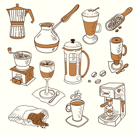 Hand drawn sketch doodle vintage simple coffee theme devices coffeemaking Menu design for cafe and restaurant Vector illustration.
