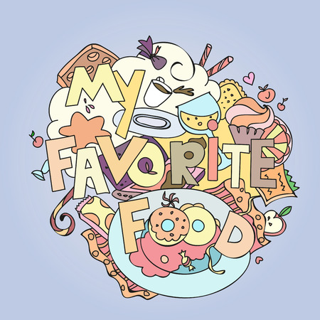 confections: Favorite food confections sweets, cakes and cookies vector illustration.