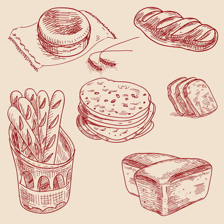 loaf of bread: Bakery products hand drawn sketch different kinds bread.